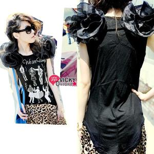 T58510 IDR.94.OOO MATERIAL COTTON+CHIFFON-LENGTH-INNER-55CM,OUTER-65CM-BUST-86-100CM WEIGHT 240GR COLOR BLACK