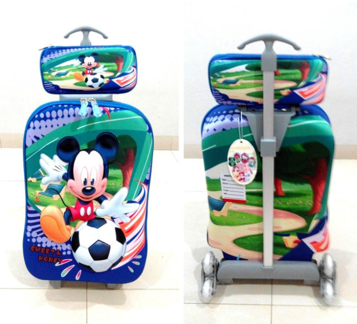 TA004 IDR 220.000 Tas Trolley 3D Anak Sekolah Mickey Mouse 2in1 Size 32x12x40cm