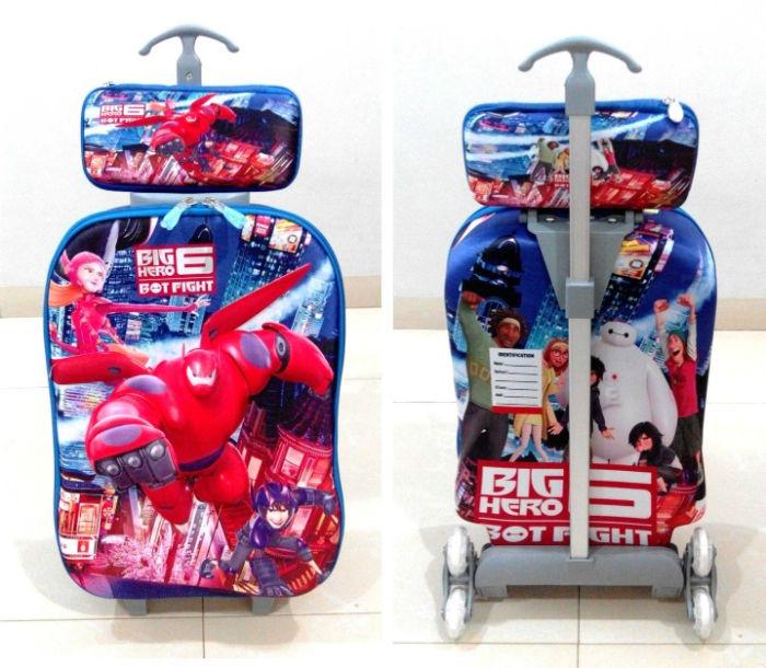 TA007 IDR 220.000 Tas Troli 3D Anak Sekolah Big Hero 6 2in1 Size 32x12x40cm