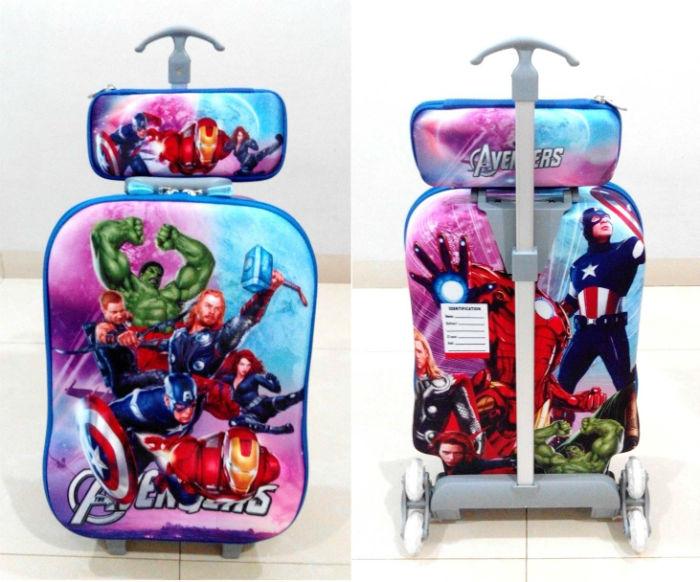 TA008 IDR 220.000 Tas Trolley 3D Anak Sekolah Avengers 2in1 Size 32x12x40cm