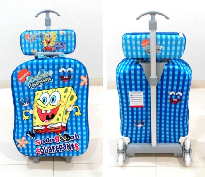 TA010 Tas Trolley 3D Anak Sekolah Sponge Bob 2in1 Size 32x12x40cm