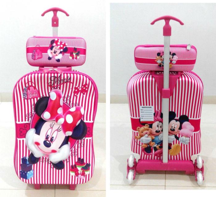 TA011 Tas Troli 3D Anak Sekolah Minnie Mouse 2in1 Size 32x12x40cm