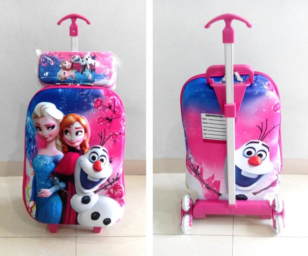 TA021 IDR 220.000 Tas Troli 3D Anak Sekolah Frozen Elsa Pink 2in1 Size 32x12x40cm