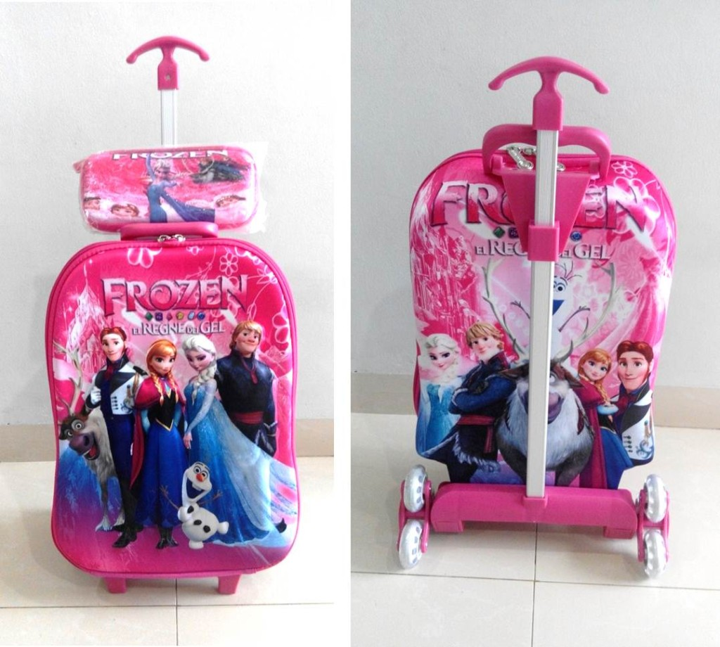 TA023 IDR 220.000 Tas Troli 3D Anak Sekolah Frozen Regne Pink 2in1 Size 32x12x40cm