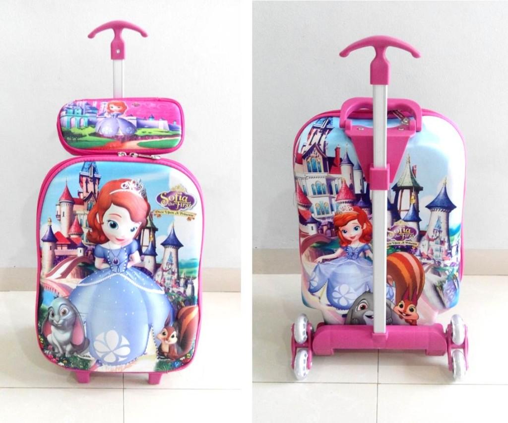 TA025 IDR 220.000 Tas Troli 3D Anak Sekolah Sophia Pink 2in1 Size 32x12x40cm