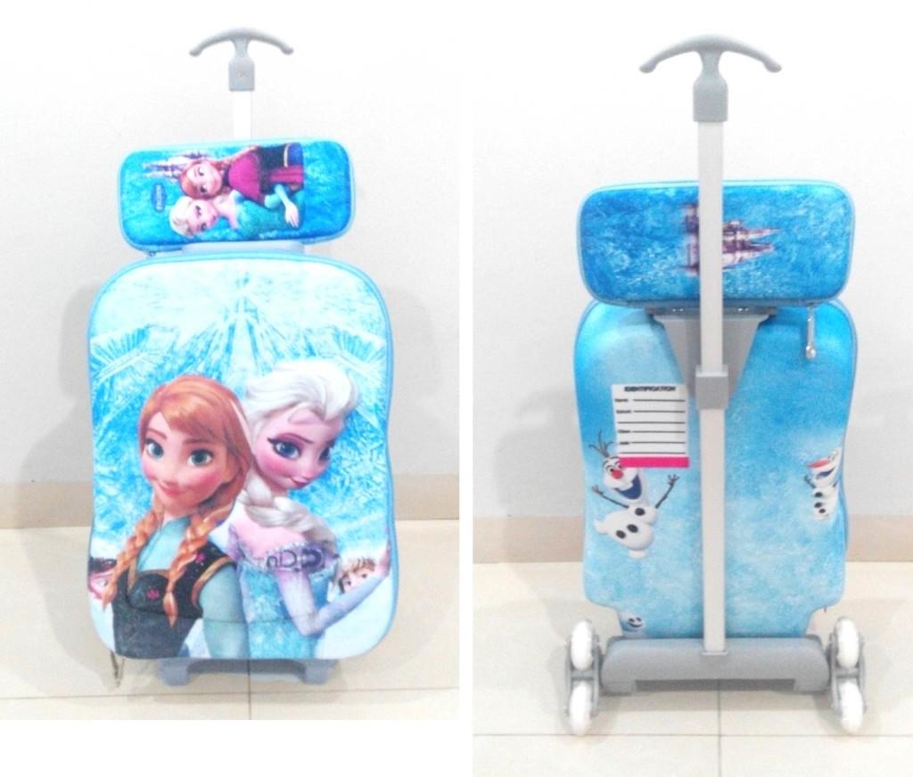 TA032 IDR 220.000 Tas Troli 3D Anak Sekolah Frozen Regne Light Blue 2in1 Size 32x12x40cm