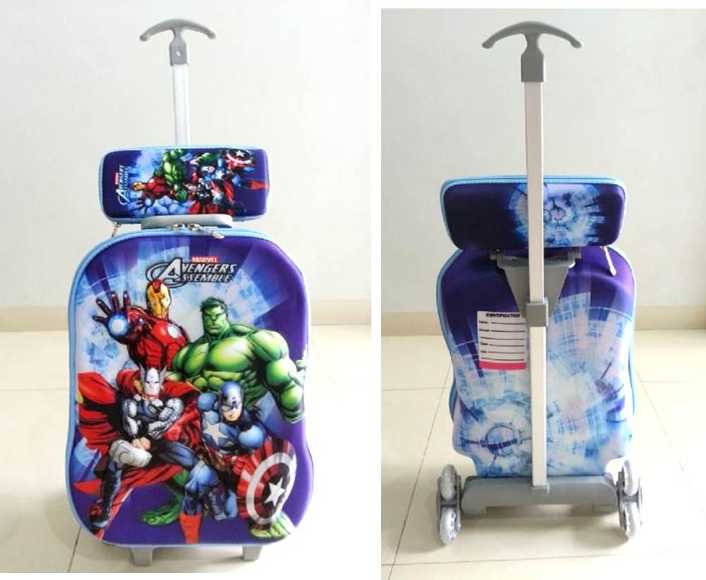 TA036 IDR 220.000 Tas Trolley 3D Anak Sekolah Avengers 2in1 Size 32x12x40cm